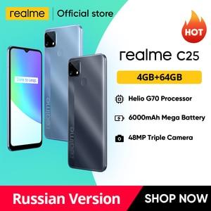 [Мировая премьера в наличии] realme C25 Helio G70 Восьмиядерный Глобальный русская версия 4 Гб 64 Гб 6000 мАч 6,5 ''большой Экран Поддержка NFC