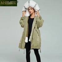 rabbit luxury fur rex parka coats winter real fur coat large fox fur hooded thick warm wool liner long jakcet hiver 19013