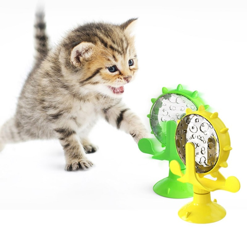 Pet Kitty Self-healing, Relieving Boredom, Spinning Windmill, Funny Cat Toy Green