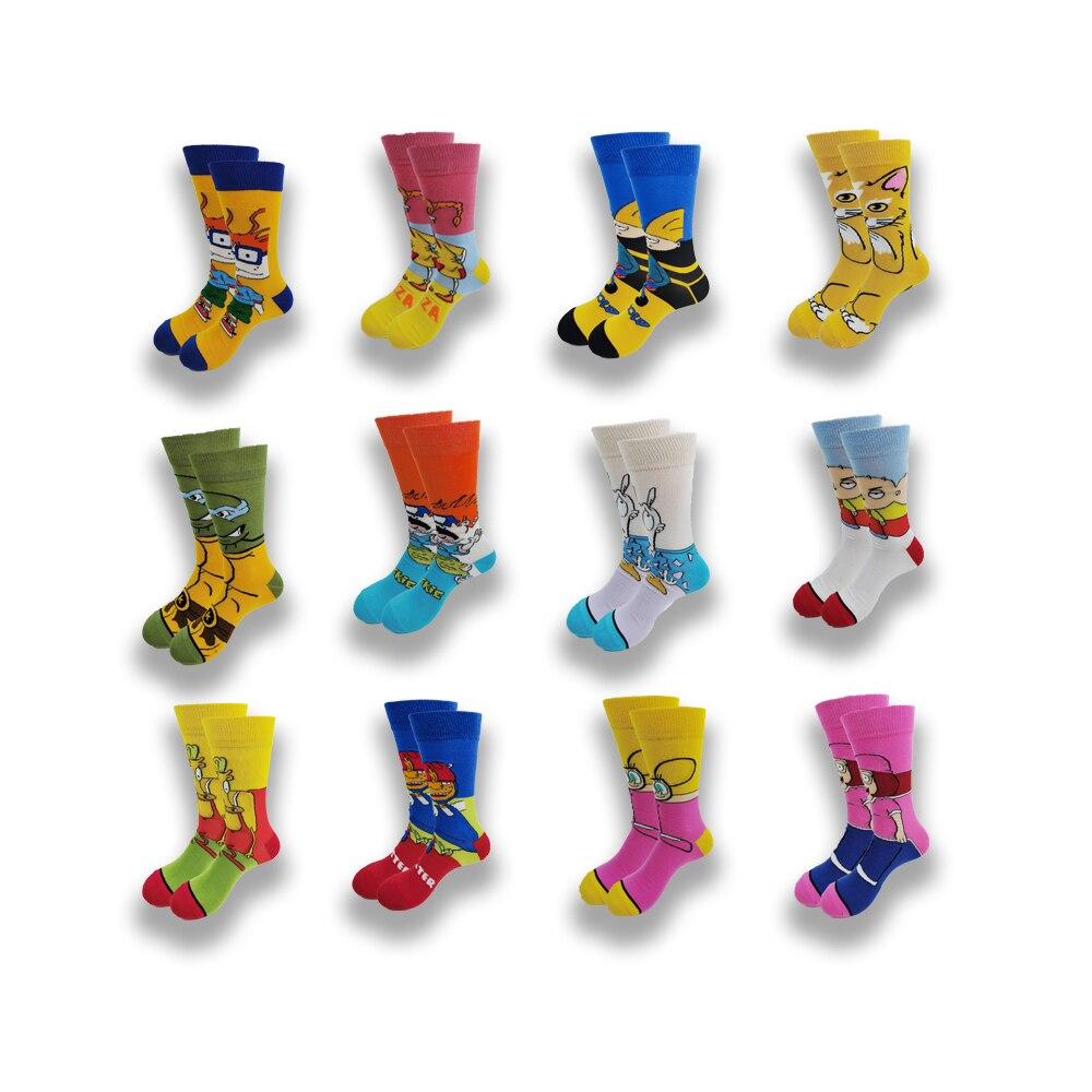 Мужские Мультяшные аниме хлопковые носки счастливые забавные носки индивидуальные крутые короткие носки уличная мода Skarpety швейный узор