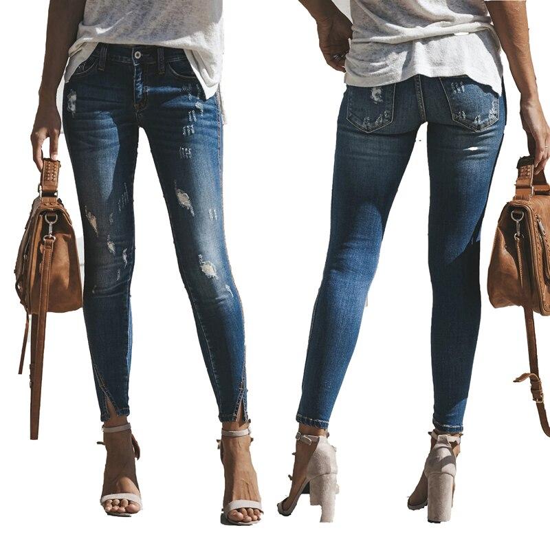 Новинка 2020, обтягивающие узкие джинсы для женщин, рваные облегающие джинсы, джинсы стрейч, женские уличные джинсы с потертостями