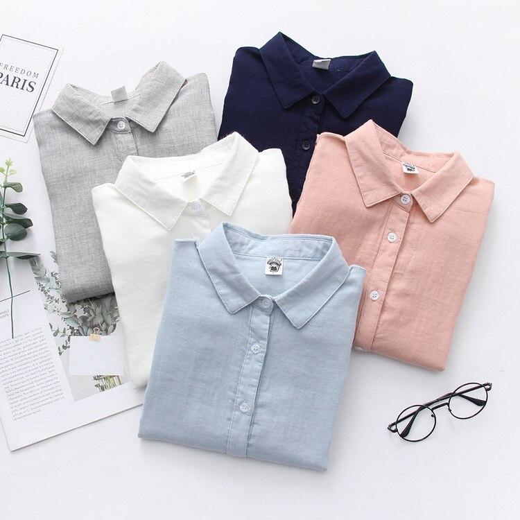 Blusa de algodón de doble capa, Color puro, de manga larga, amigable con la piel, ajustada, combina con todo, camisa básica artística para mujer