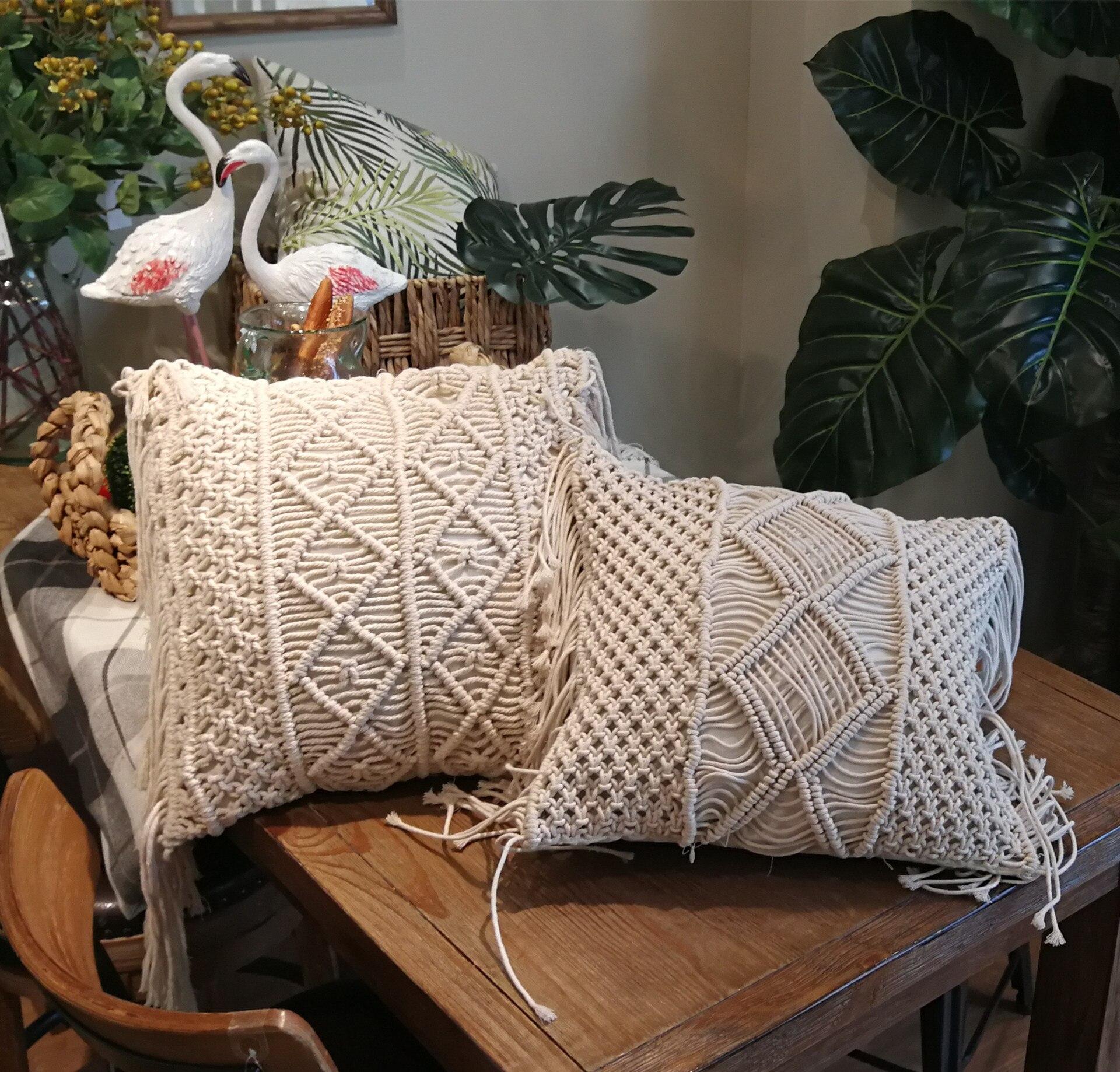 45x45cm, funda de cojín de macramé de punto con borlas, funda de cojín hecha a mano, cojín decorativo para sofá de estilo libre para sala de estar