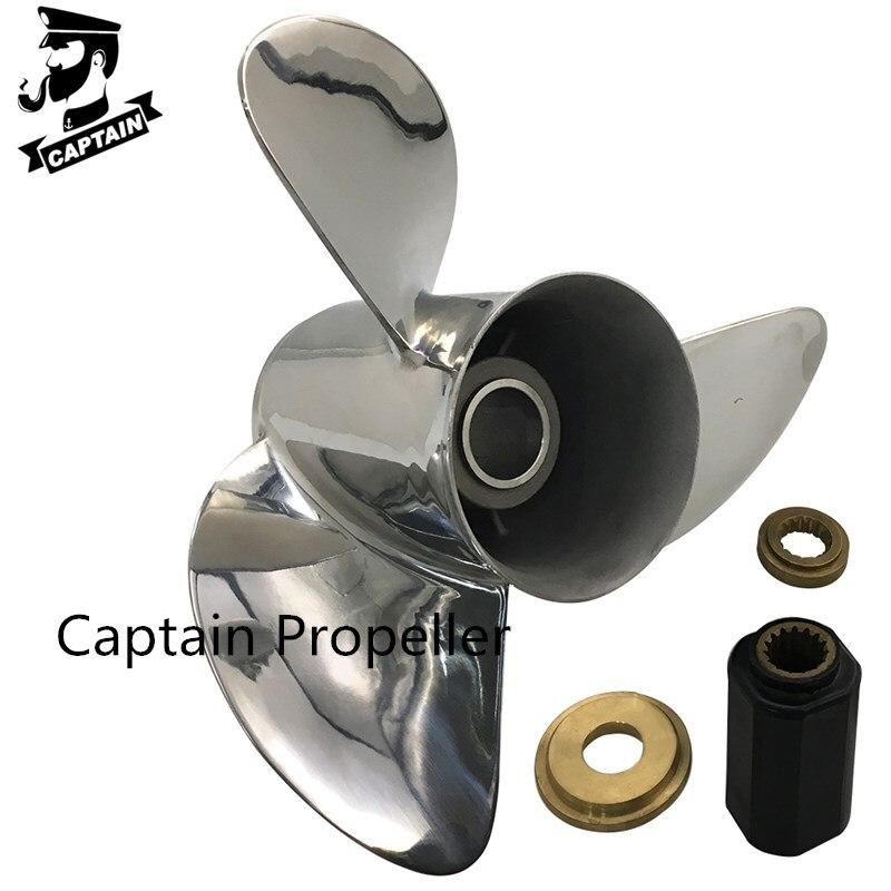Captain Propeller 13 3/4x19 Fit Mercury Outboard Engines 90HP 115HP 220HP 225HP 250HP 400HP Stainless Steel 15 Tooth Spline RH enlarge