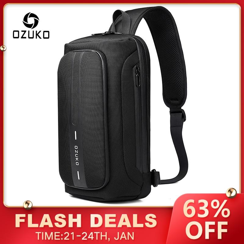 OZUKO Multifunction Men Chest Bag Anti-theft Male Sling Bags Waterproof Crossbody Messenger USB Charging Outdoor Pack