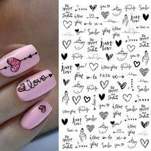 Autocollants d'ongles 3D motif coeur amour, lettres anglaises, 1 pièce, motif de visage, curseur pour la saint-valentin, décoration artistique des ongles