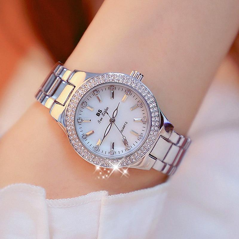 BS Bee Sister Dress Luxury Gold Quartz Watch Women Small Dial Crystal Diamond Stainless Steel Waterproof Montre Femme FA1258-A enlarge