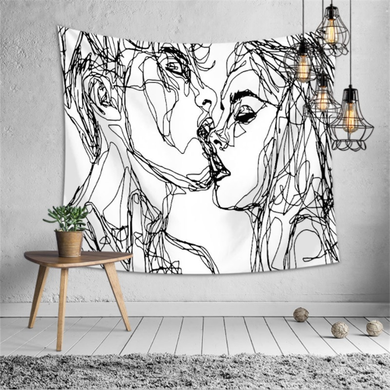 Креативная линия нарисованная гобелен настенный Бохо Декор хиппи поцелуй психоделический настенный гобелен абстрактный ковер настенный г...