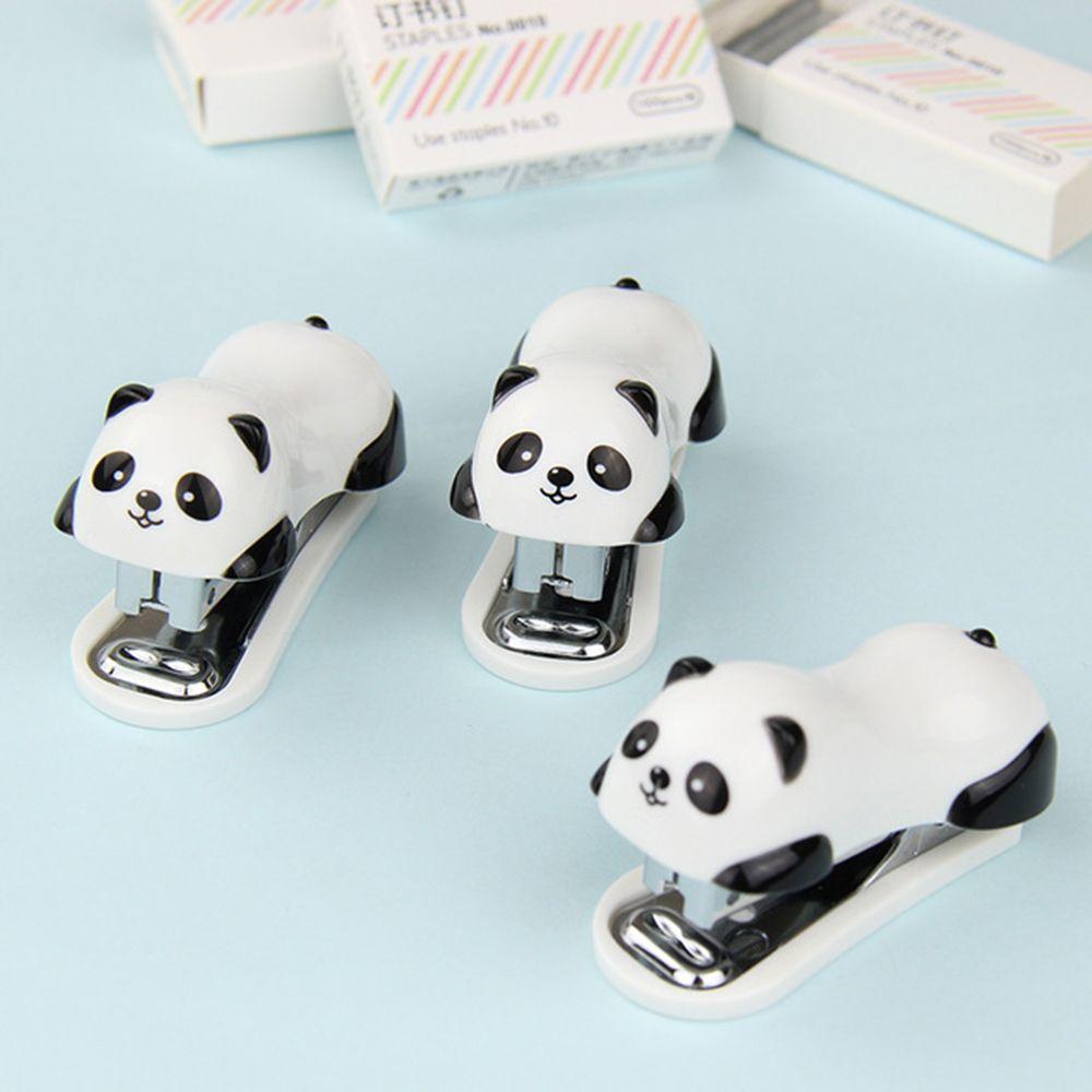 Cute Panda Mini Stapler +Staples Set Office School Stationery Paper Binding Binder Book