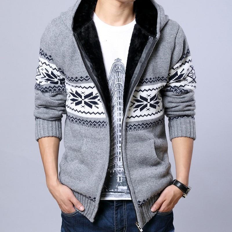 Homens inverno grosso forro de pele quente sweatercoat kawaii padrão casual cardigan masculino outwear camisola com capuz de malha sueter hombre