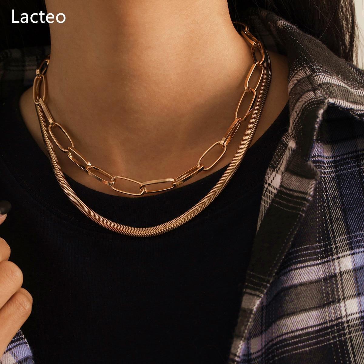Lacteo 2Pcs/Set Punk Snake Bone Chain Clavicle Choker Necklace Simple Minimalist Jewelry Wearing on the Neck