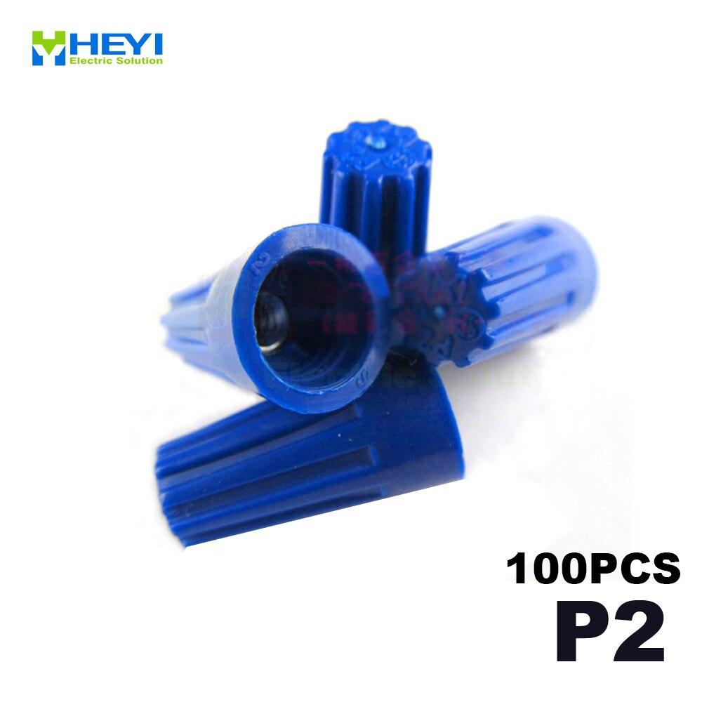 100pcs/package Electrical Wire Twist Nut Connector Terminals Cap P2 Blue Closed Terminal Lugs Press Line Cap