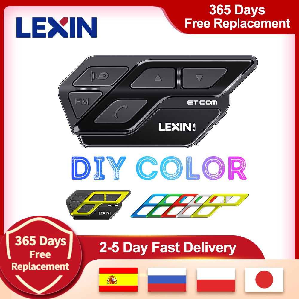 Lexin ET كوم V5.0 دراجة نارية بلوتوث إنترفون خوذة سماعة متعدد الألوان FM اللاسلكية BT Intercomunicador موتو 1200M 2 الدراجين