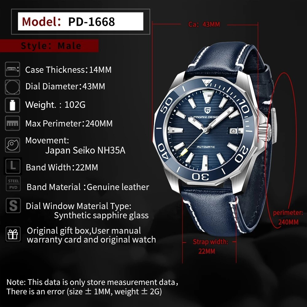 PAGANI DESIGN Classic Luxury Men's Automatic Watch Sapphire Glass NH35A Mechanical Watch Men's Stainless Steel Waterproof Watch enlarge