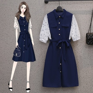 Plus Size Women's Clothing Summer New Temperament Tummy Hiding Slimming Youthful-Looking Fashion Patchwork Waist-Slimming Dress