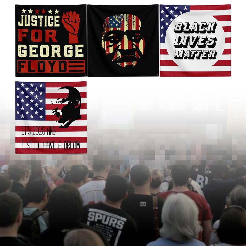Tapiz de bandera para desfile de 150*150CM no puedo respirar George Floyd de Black Lives Matter Aviso de protesta