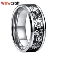 real tungsten carbide rings fashion jewelry gear inlay mens womens wedding band 68mm comfort fit