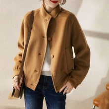 Autumn And Winter Women Clothes Japanese Style Wool Stand-collar Double-sided Woolen Jacket Short Co