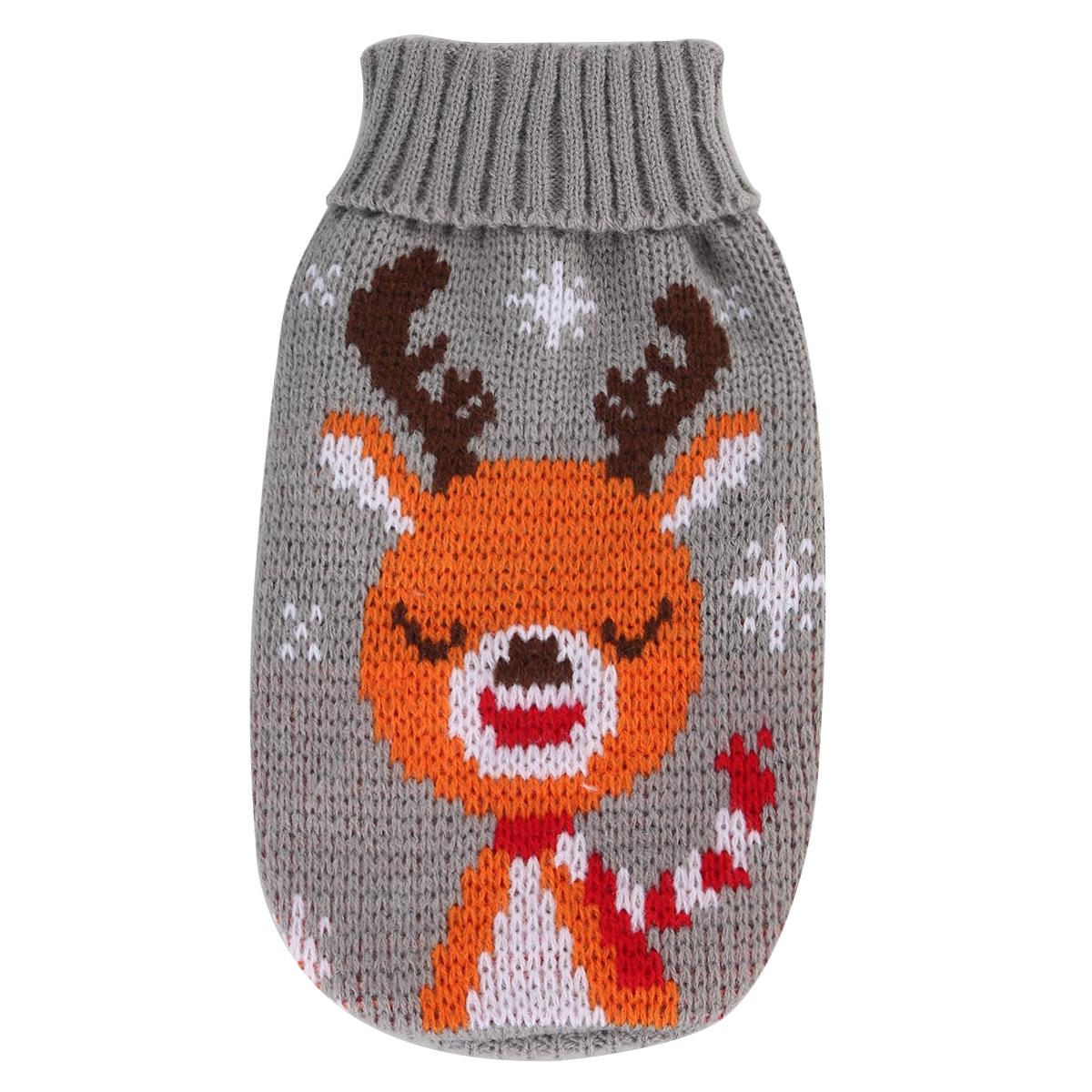 Suéter tejido de invierno para mascotas gris ropa para perros lindo patrón de alce tejido suéter para mascotas adecuado para el desgaste diario del Festival ropa de calle