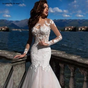 2020 New Arrival Sexy Mermaid Wedding Dresses Sheer Neck Lace Appliques Long Sleeves Illusion Summer Beach Plus Size Formal Brid