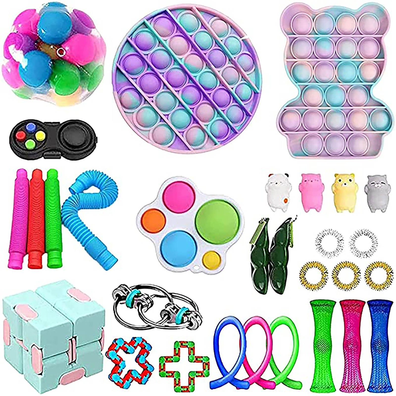 TOP Fidget Toys Pack Anti Stress Toy Set Stress Relief Gift for Adults Girl Children Sensory Antistress Relief Figet Toys Box