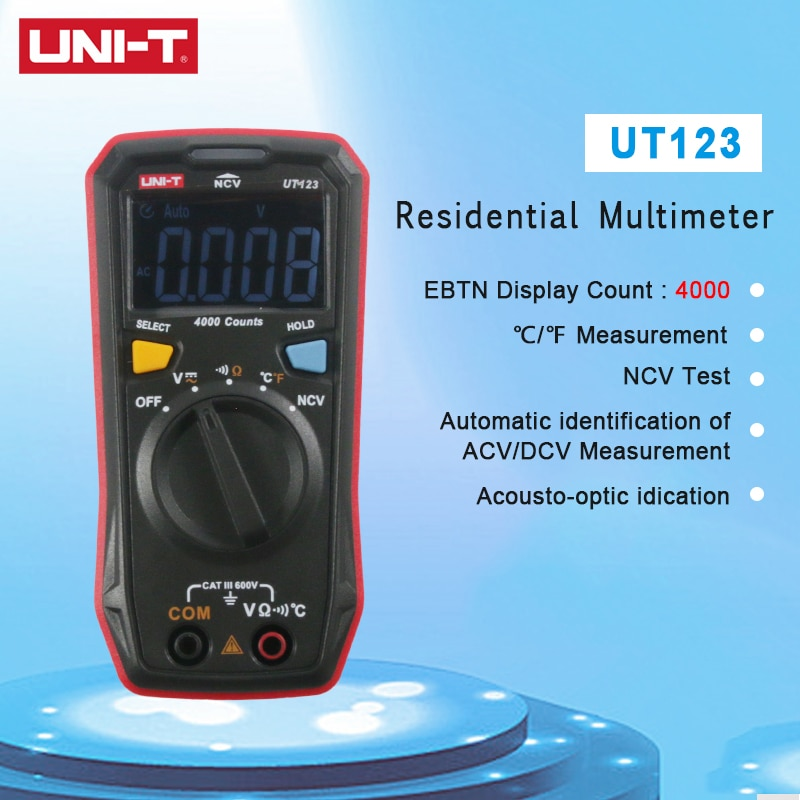UNI-T EINHEIT UT123 Mini Digital Multimeter Auto Range Daten halten AC DC Volt Meter Ohm Temperatue NCV/Kontinuität Tester EBTN Display