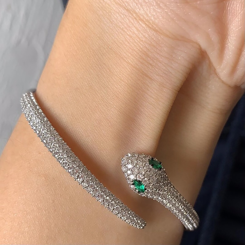 Snake Bracelet 925 Sterling Silver micro inlaid zircon fashion ladies exquisite Party style exquisite jewelry