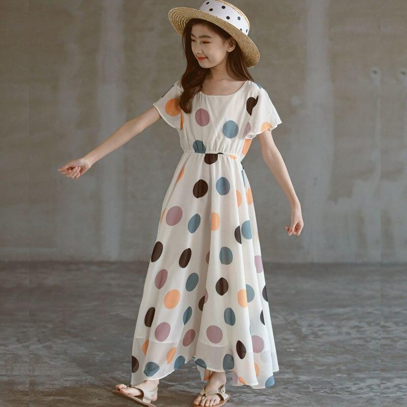 أبيض أسود ماكسي طويل في سن المراهقة الفتيات فستان صيف 2021 الاطفال ملابس قصيرة الأكمام فساتين الأطفال عطلة الشاطئ ملابس عصرية
