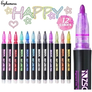 8/12 Color Card Writing Drawing Double Line Outline Pen Highlighter Marker Pen for School Office
