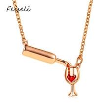 Feiseli diseño creativo botella de vino colgante collar para mujer personalizado amor corazón vino cristal gota clavícula collar de cadena