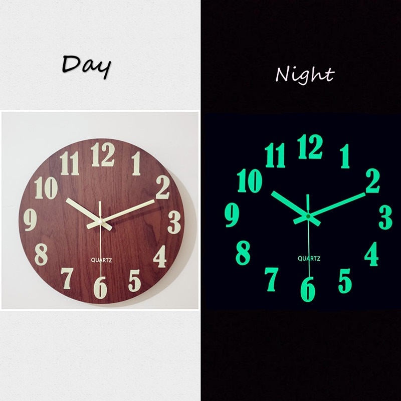 Luminous Wall Clock,12 Inch Wooden Silent Non-Ticking Kitchen WallClocks With Night Lights For Indoor/Outdoor Living Room