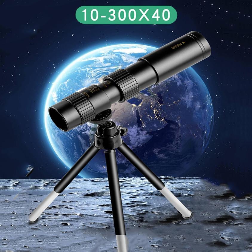 4k 10-300x40mm Super Telephoto Zoom Monocular Telescope With Tripod & Clip Mobile Phone Accessories