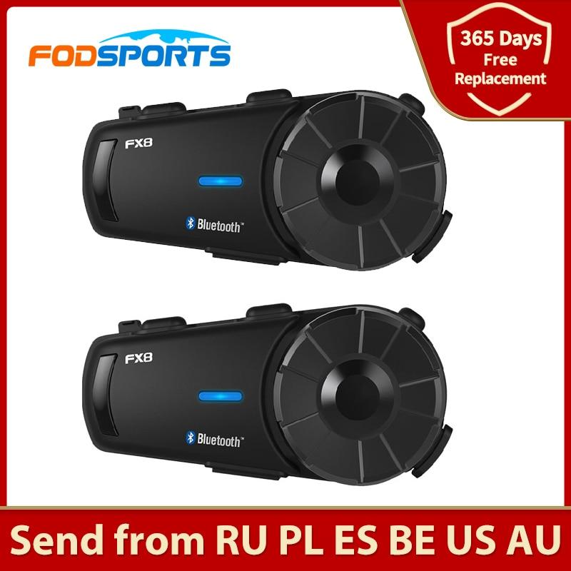 Fodsports 2 pcs FX8 Helmet Intercom Motorcycle Bluetooth Helmet Headset 8 Rider 1000m Moto Interphone Intercomunicador FM