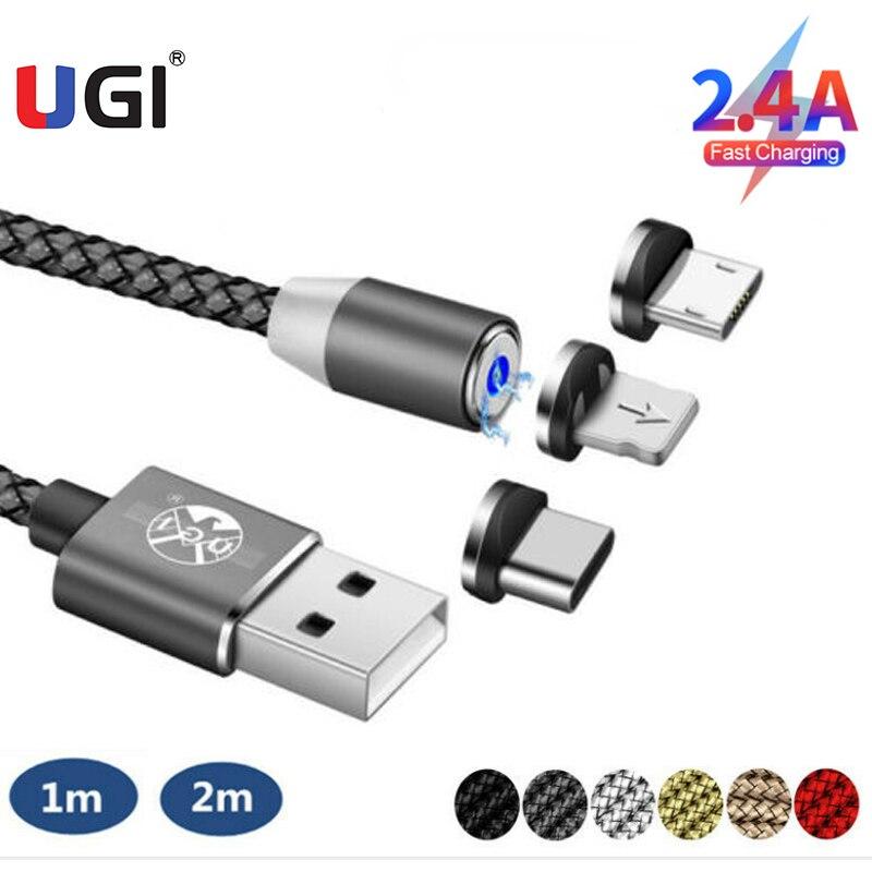 UGI-Cables magnéticos de 360 °, Cargador rápido de 2.4A, Cable Micro USB...