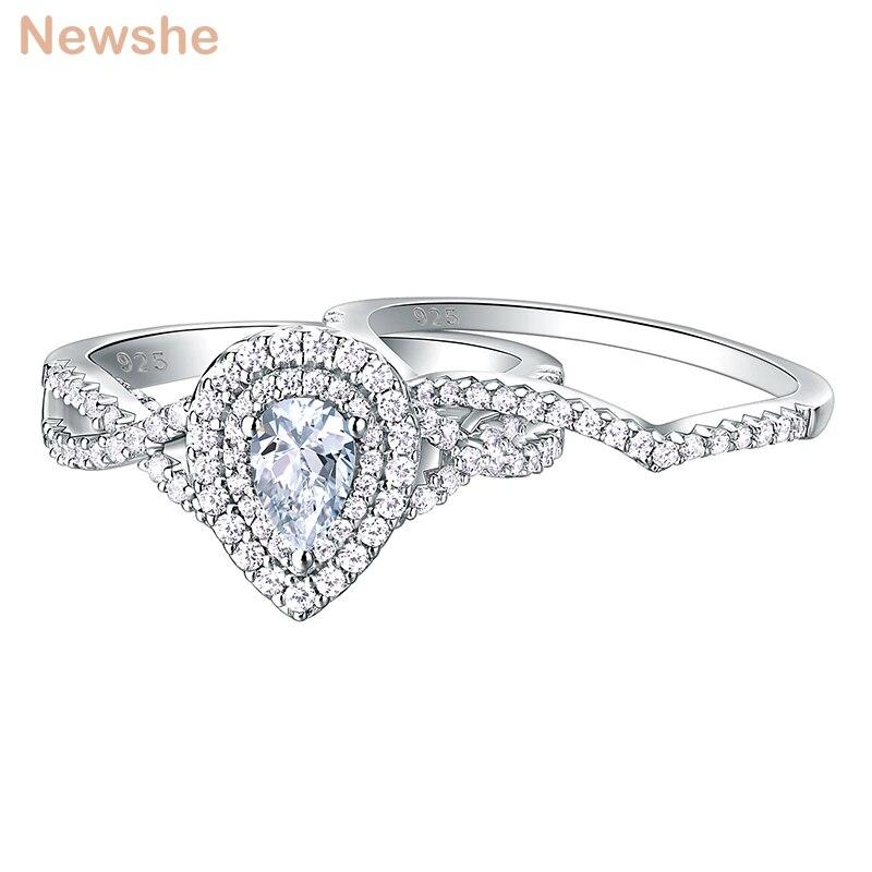 Newshe 2 pçs 925 prata esterlina anéis de casamento para mulheres conjuntos de anel de noivado 1.7ct forma pêra lágrima zircão br0829