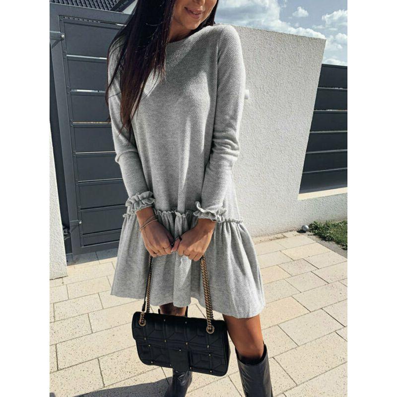 Moda feminina vestido de manga longa plissado sólido plissado mexi vestidos casual longo midi vestido/por