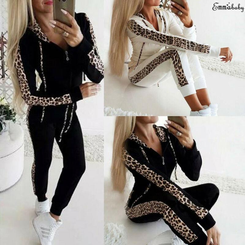 2 piezas de las mujeres leopardo chándal Conjuntos Casuales de otoño con capucha Tops sudadera + pantalones traje de dos piezas