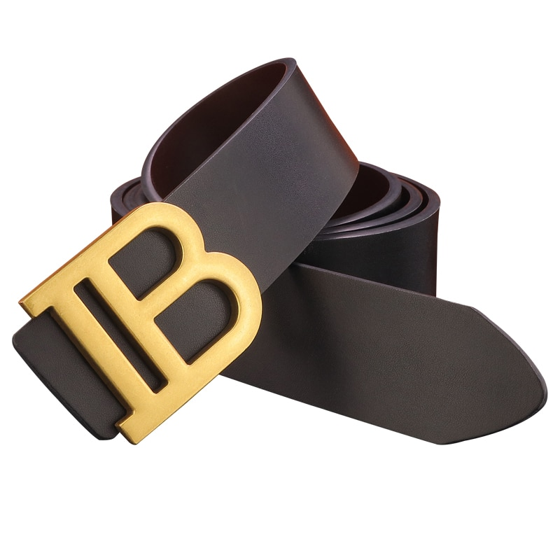B Letter Buckle Wide Belts For Men Cowhide Genuine Leather Male Waistband