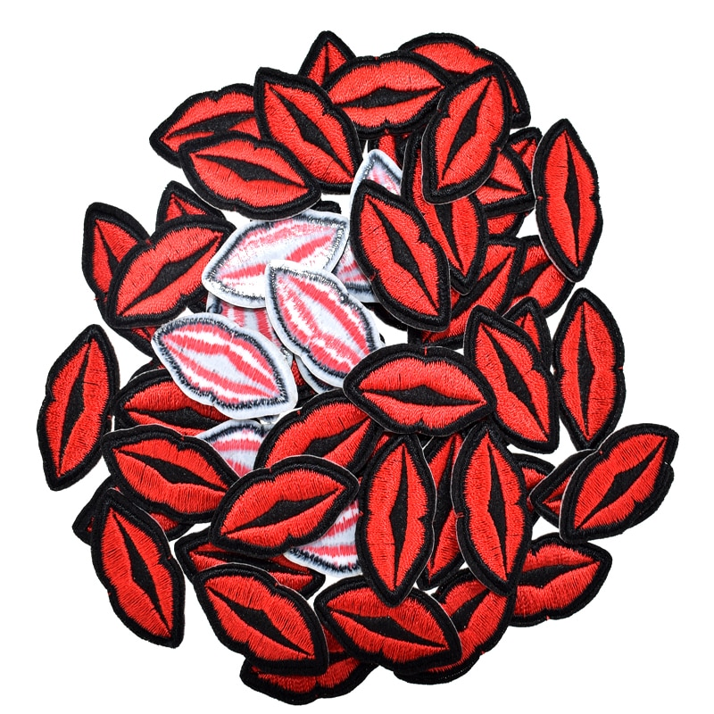 10pcs Small mouth patch embroidery Iron On lip patches for clothing stickers fabric sewing garments accessories