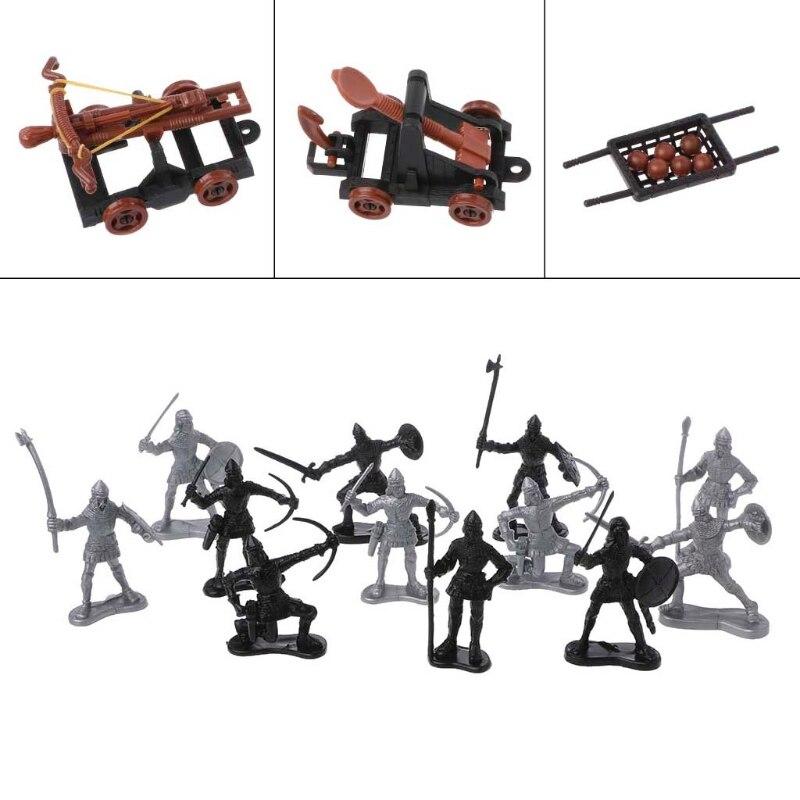 14 unids/set caballeros medievales juguete catapulta ballesta soldado cifras juego carro 24BE