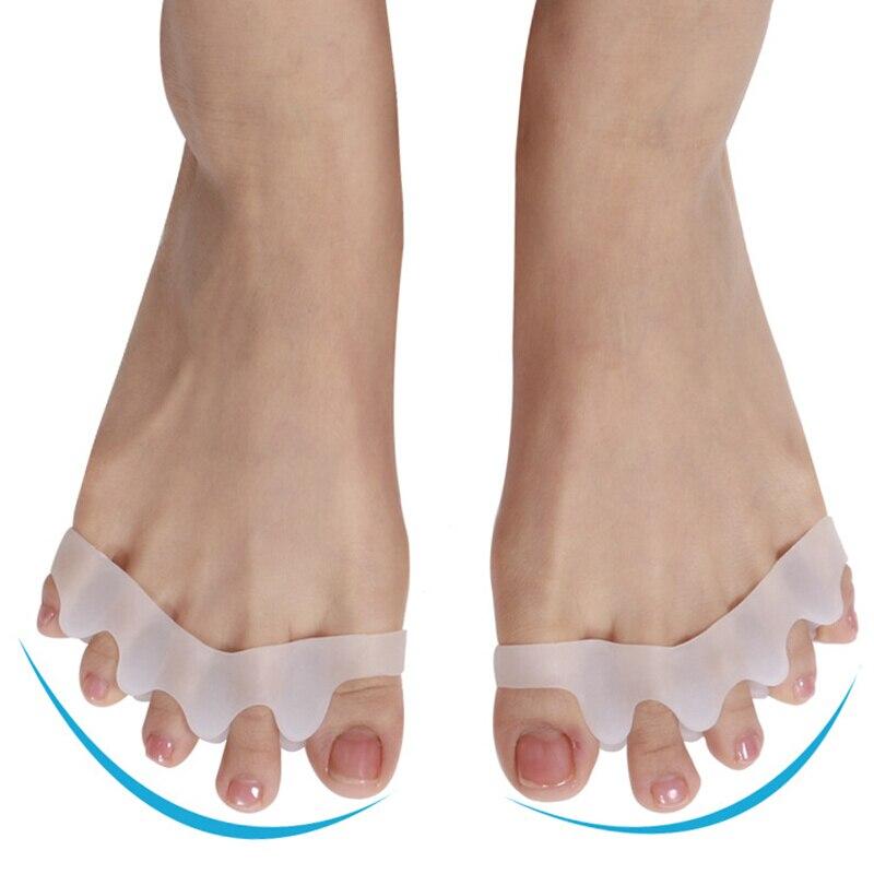 2 uds separadores de dedos del pie de silicona alisador corrector para dedo del pie extensor para alivio del dolor de juanetes dedo del pie martillo corrección del dedo del pie