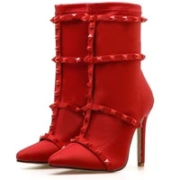fashion boots new large size 43 stiletto heel womens fashion ankle boots winter leather boots women furry heels red cute shoes