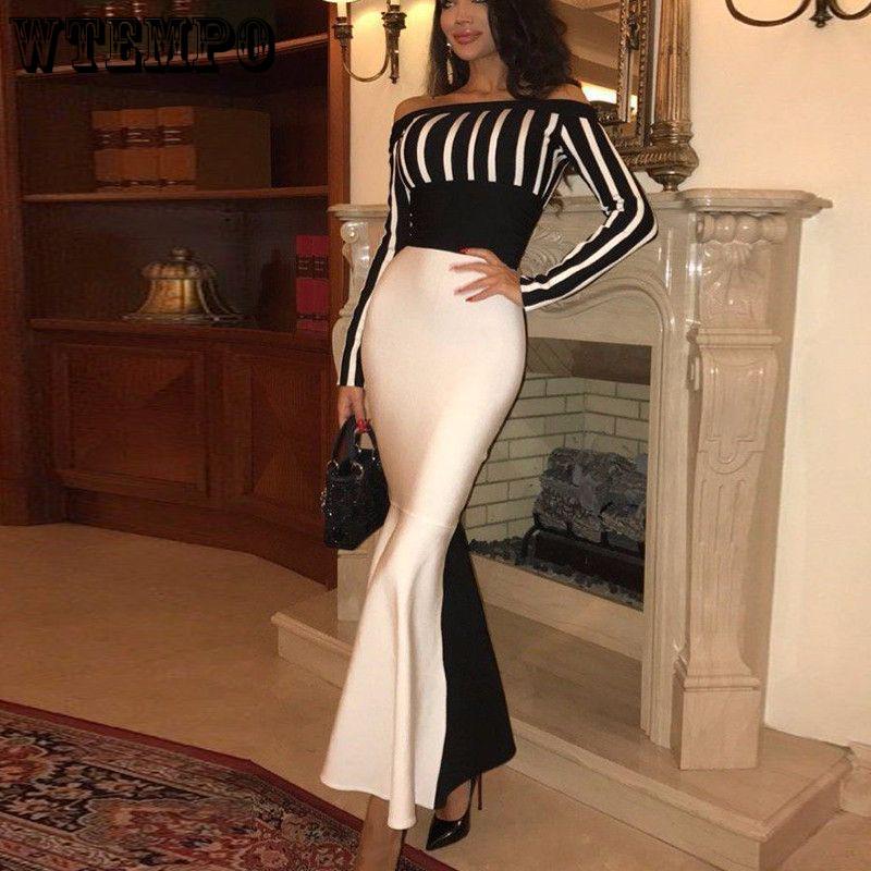 الأزياء Bodycon حزب اللباس بلوزات غير مغطية للكتف مثير أسود أبيض خليط نحيل حورية البحر فساتين الإناث حزب فستان طويل 2021
