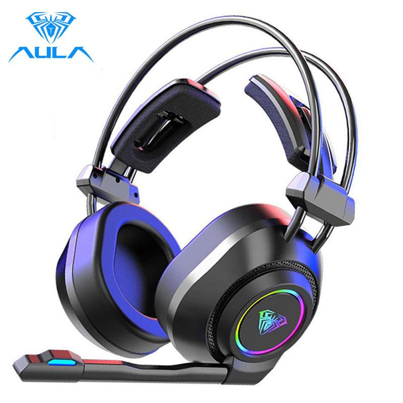 AULA S600 RGB سماعة الألعاب باس ستيريو ألعاب الكمبيوتر فوق الأذن سماعة الصوت المحيطي السلكية سماعة رأس مزودة بميكروفون لأجهزة الكمبيوتر المحمول س...