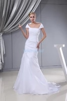 free shipping new arrival fashion small train cap sleeve custom sizecolor bridal mermaid white pleat mother of the bride dress