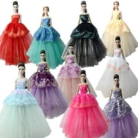 10pcslot fashion doll clothes for barbie doll off shoulder evening dresses outfits for barbie doll 16 bjd dolls accessories