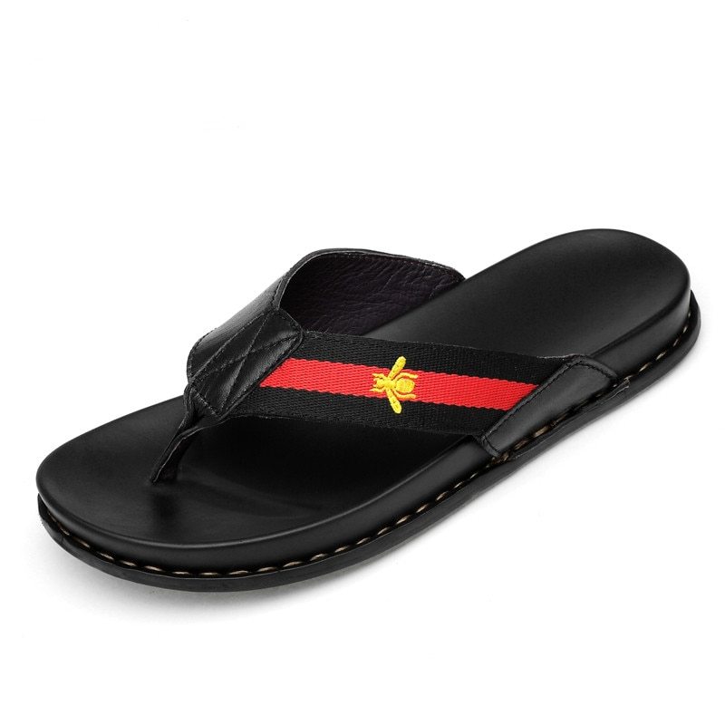 men luxury shoes Genuine Leather Brand Slippers Men Summer Beach Sandals Designer Flip Flops Breathable Non-slip Slides