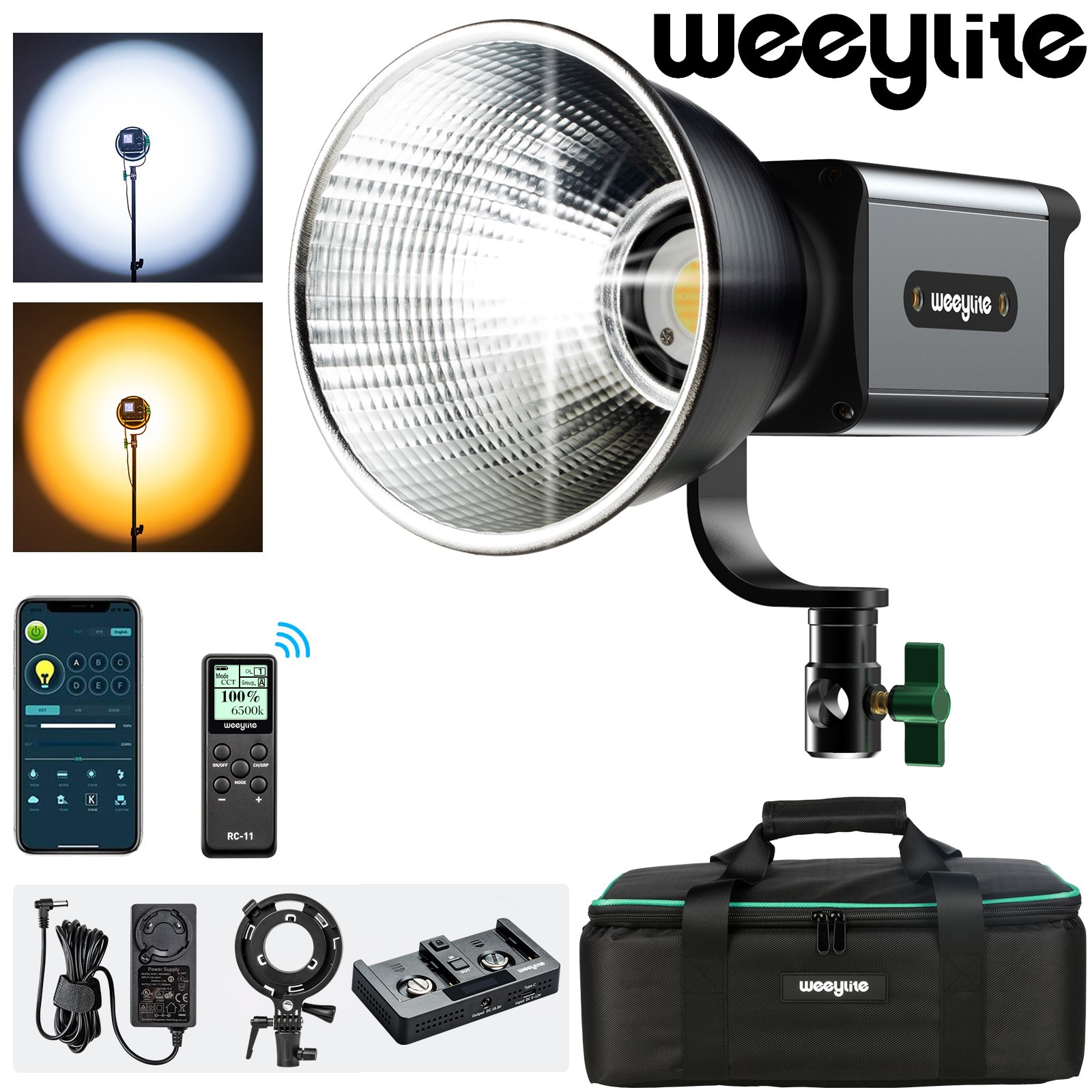 godox sl series led continuous video light slb60w 60w 8700mah li ion battery with remote control charger for photography Weeylite Ninja200 60W COB Bicolor LED Video Light with App Control Continuous Output Light 2800K~8500K Bowens Mount Studio Light