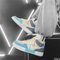 2021 new fashion splicing sneakers men flat high top casual board shoes man comfortable couple platform sneakers zapatos hombre