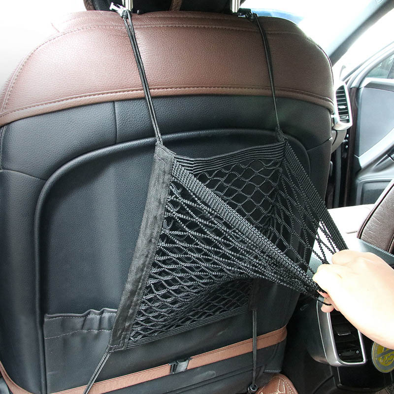 Organizador de malla para asiento de coche, almacenamiento de red de carga, bolsillos, equipaje, bolso para ganchillo, soporte para asiento de coche, protector de pantalla, bolsa de almacenamiento de malla